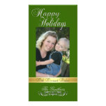 Happy Holidays Gold Ribbon Holly Green Photo Card