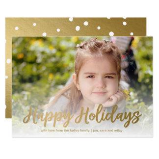 Happy Holidays Gold Script Holiday Full Photo Card