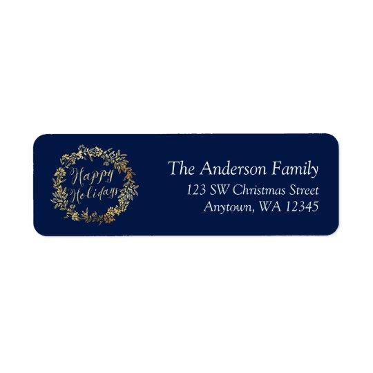 Happy Holidays Gold Wreath Blue Return Address Label
