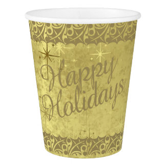 Happy Holidays  Golden Stars  Holiday Duo-tone Paper Cup