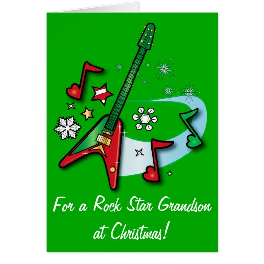 Happy Holidays Grandson with Guitar Card