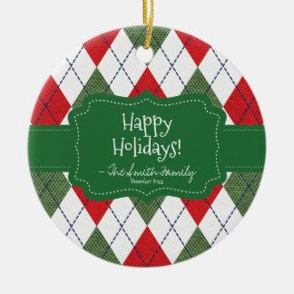 Happy Holidays. Green Badge & Argyle Pattern. Round Ceramic Decoration