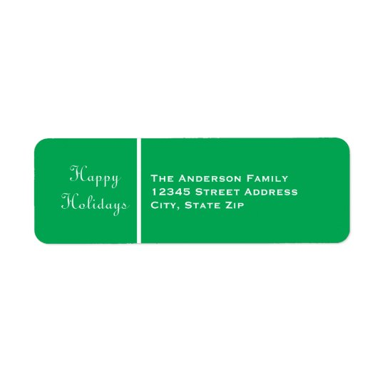 Happy Holidays Green Banner - Address Label