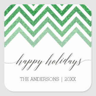 Happy Holidays green chevron Stickers
