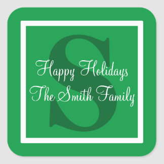 Happy Holidays Green Design Square Sticker