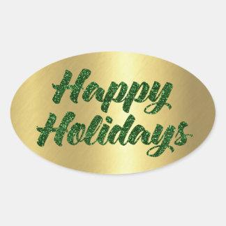 Happy Holidays Green Glitter on Gold Oval Sticker