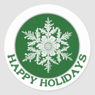 Happy Holidays Green Paper Snowflake Round Sticker