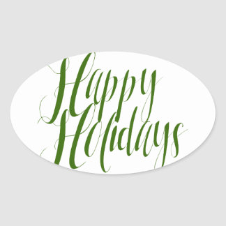 Happy Holidays Green Script Oval Sticker