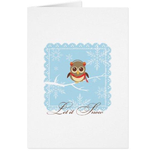 Happy Holidays Greeting Card - Winter Owl