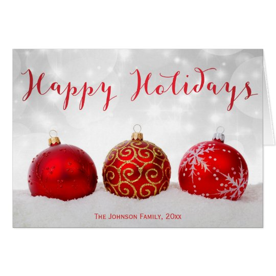 Happy Holidays Greeting Cards With Red Decor