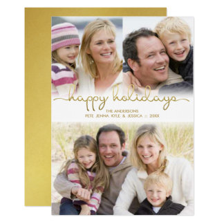 Happy Holidays Hand Lettered Gold Photo Collage Card