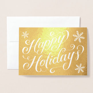 Happy Holidays Hand Lettering Snowflakes Foil Card