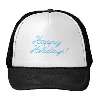 happy holidays  handwriting cap