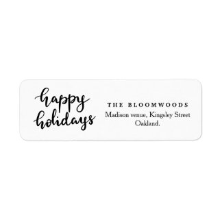 Happy Holidays Handwritten Script Minimalist Return Address Label