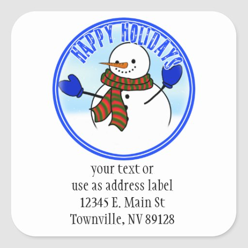 Happy Holidays - Happy Cartoon Snowman w/Mittens Sticker