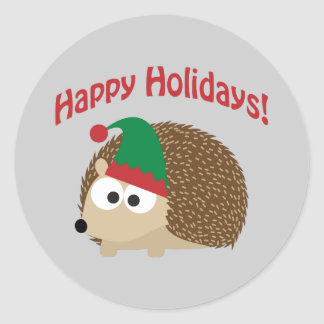 Happy Holidays! Hedgehog Elf Classic Round Sticker