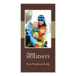 Happy Holidays Herringbone Family Photo Cards