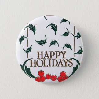 Happy Holidays Holly 6 Cm Round Badge