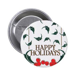 Happy Holidays Holly 6 Cm Round Badge