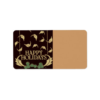 Happy Holidays Holly Address Label