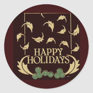 Happy Holidays Holly Classic Round Sticker