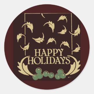 Happy Holidays Holly Round Sticker