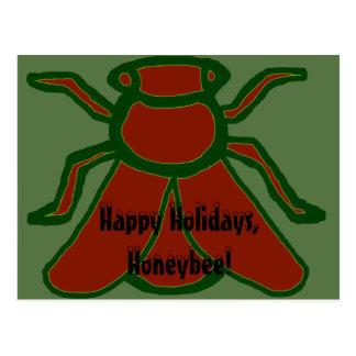 Happy Holidays, Honeybee! Yule Bee Postcard