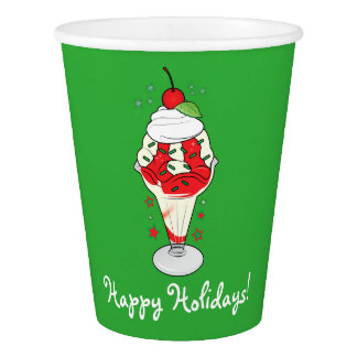 Happy Holidays Ice Cream Sundae with Cherry