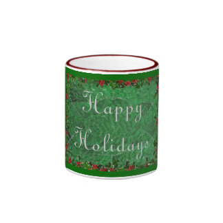 Happy Holidays in Green Stained Glass Coffee Mug