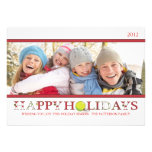 Happy Holidays in Red and White Photo Card Personalized Announcement