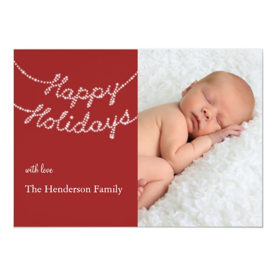 Happy Holidays in Twinkle Lights Photo Card