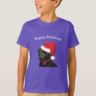 Happy Holidays Labrador Dog Santa Hat Cute T-Shirt