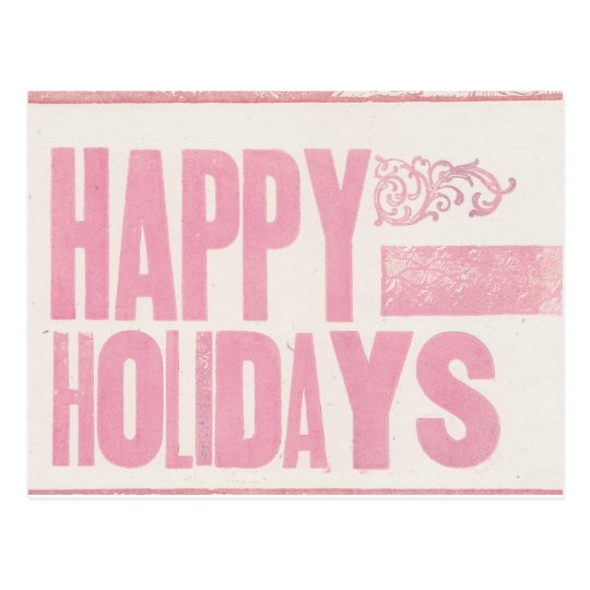 Happy Holidays Letterpress printed postcard pink