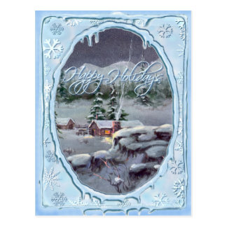 HAPPY HOLIDAYS LOG CABIN by SHARON SHARPE Postcard