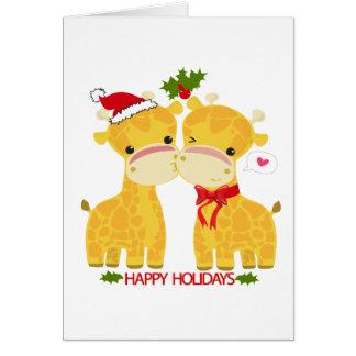 Happy Holidays Love Giraffes Greeting Card