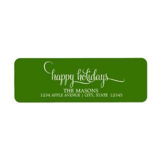 Happy Holidays Lowercase Script | Green Return Address Label