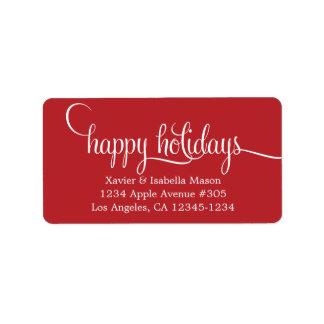 Happy Holidays Lowercase Script Label