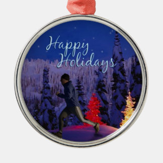 Happy Holidays - Male Runner Christmas Ornament