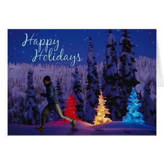 Happy Holidays - Male Runner Greeting Card