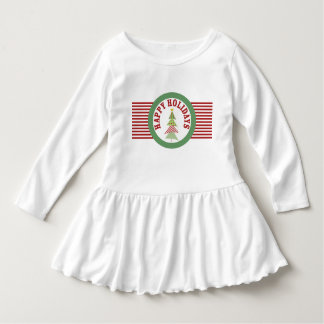 Happy Holidays Medallion Red Green Whimsical Tree Dress