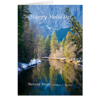 Happy Holidays, Merced River Yosemite California Greeting Card