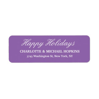 Happy Holidays Merry Christmas Pale Purple Family Return Address Label