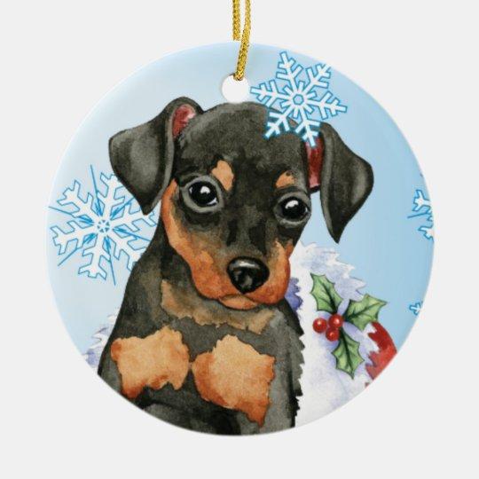 Happy Holidays Min Pin Christmas Ornament