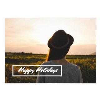 happy holidays modern field countryside card