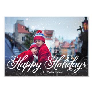 Happy Holidays Modern Full Photo Card