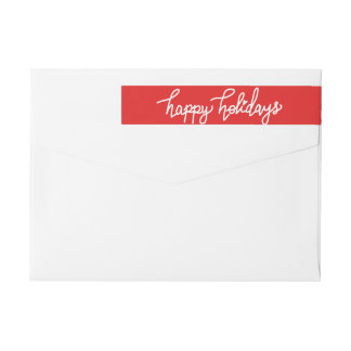 Happy Holidays Modern Handwritten Script Red Wrap Around Label