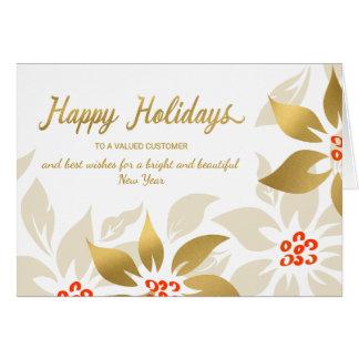 Happy Holidays Modern Poinsettia Faux Gold Foil Card