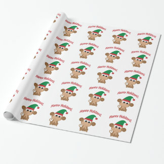Happy Holidays! Monkey Christmas Elf Wrapping Paper