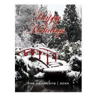 Happy Holidays - Moon bridge and pond Postcard
