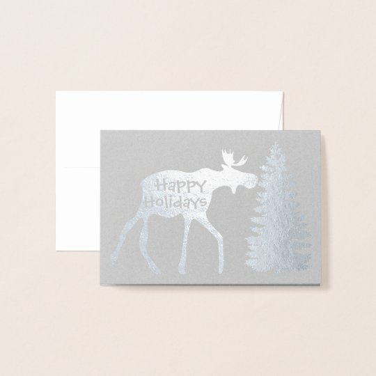 Happy Holidays Moose And Tree Foil Card